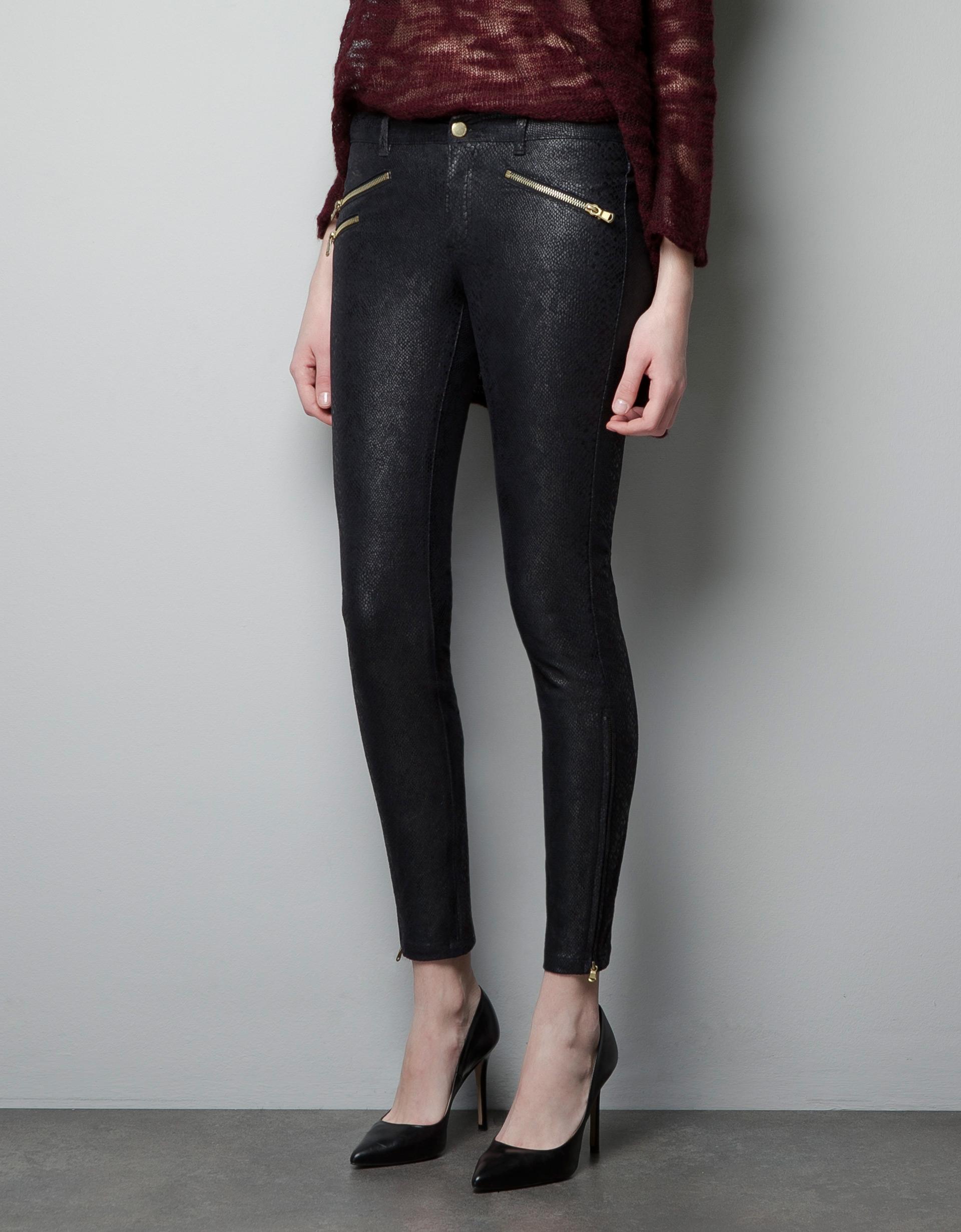 zara snake print trousers in black lyst