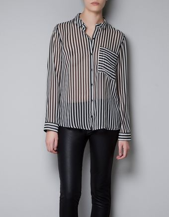 Zara Striped Shirt with Pocket - Lyst