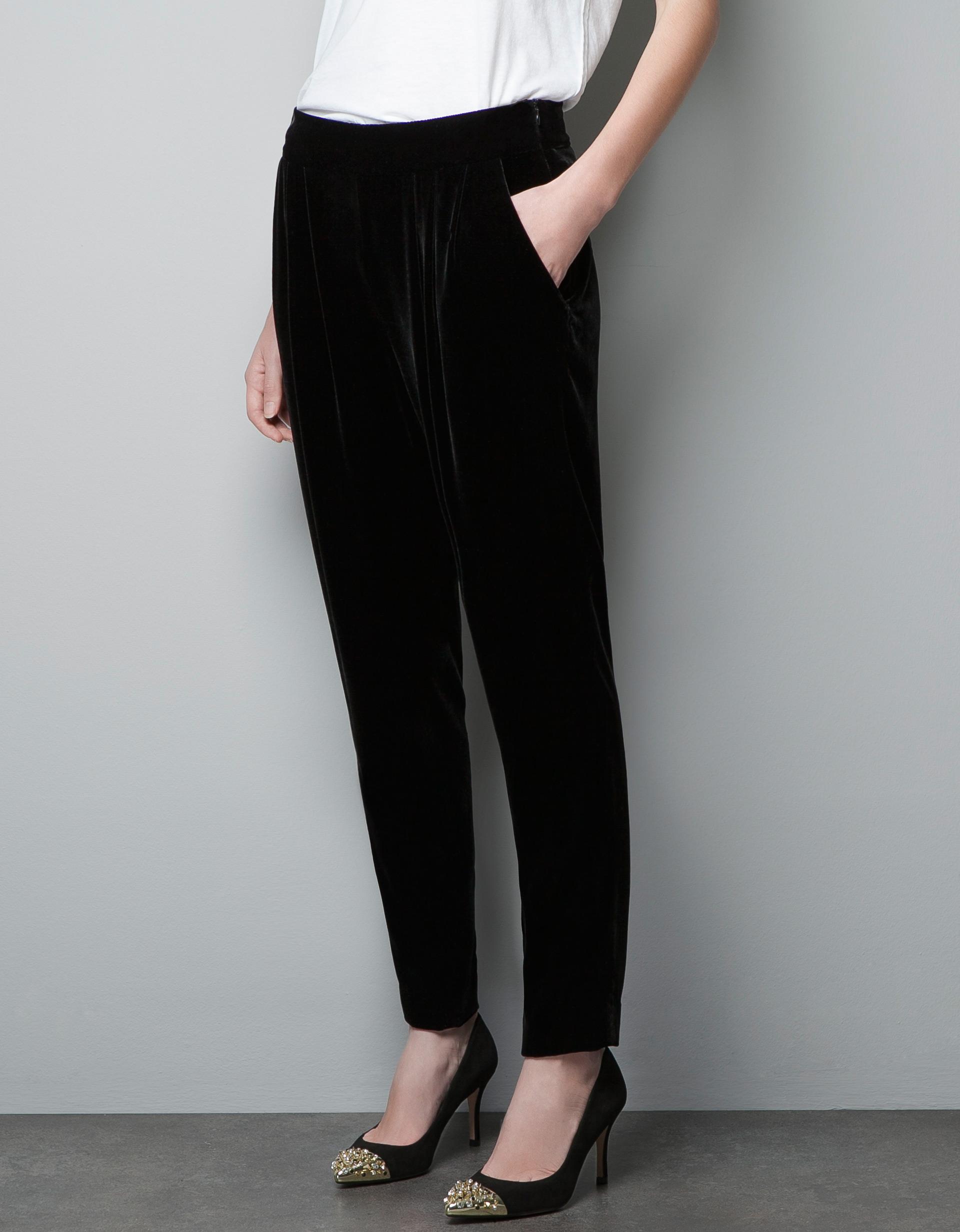 Zara Velvet Harem Pants In Black | Lyst