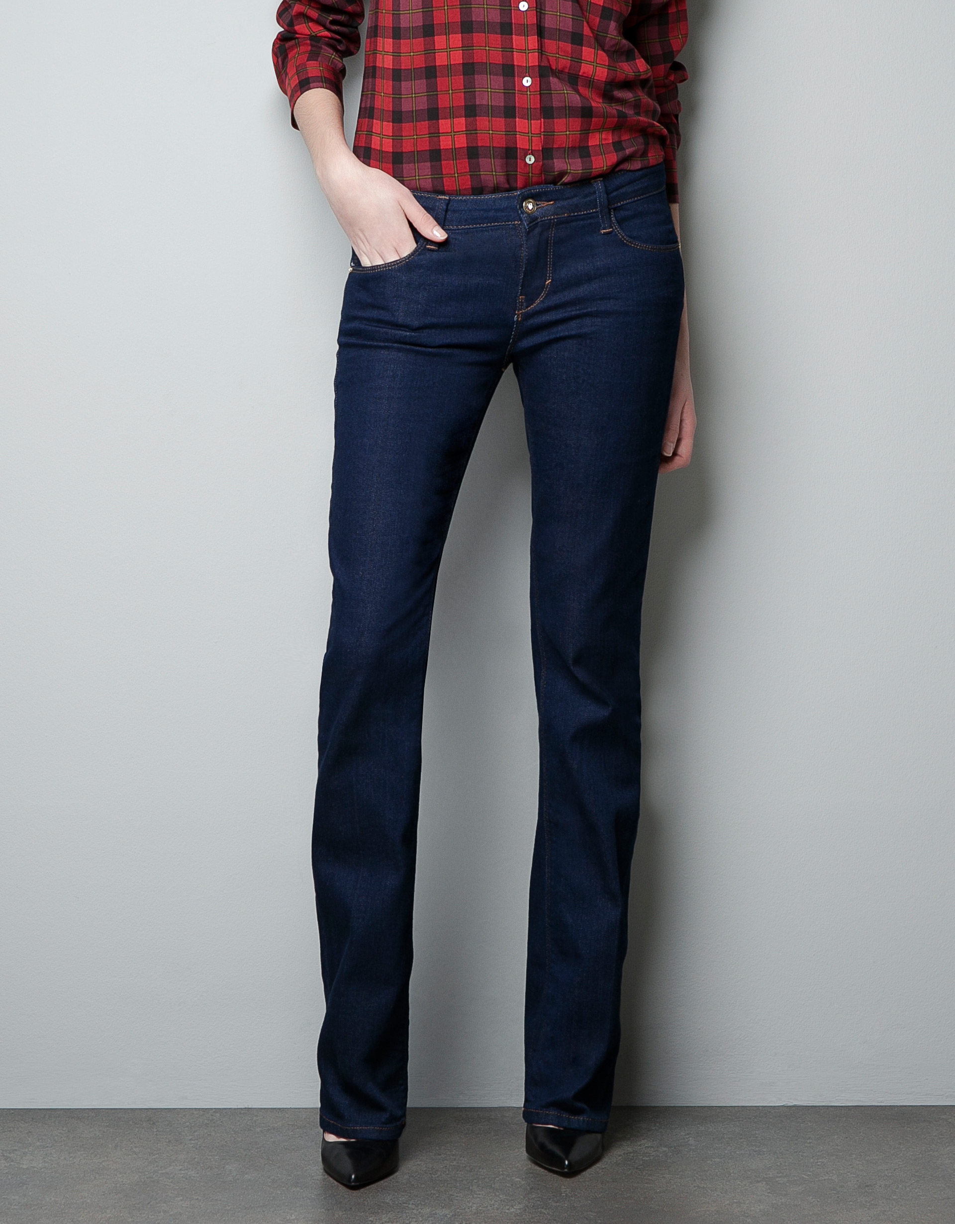 Zara Bootcut Denim Jeans in Blue | Lyst