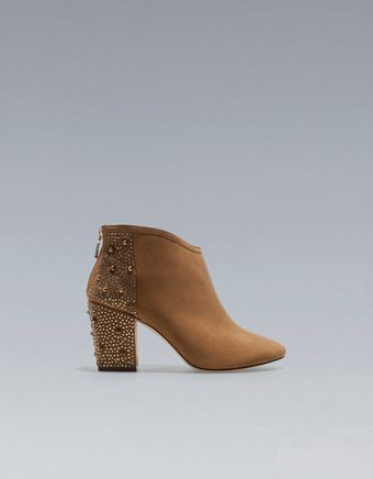 Zara High Heel Studded Ankle Boot - Lyst