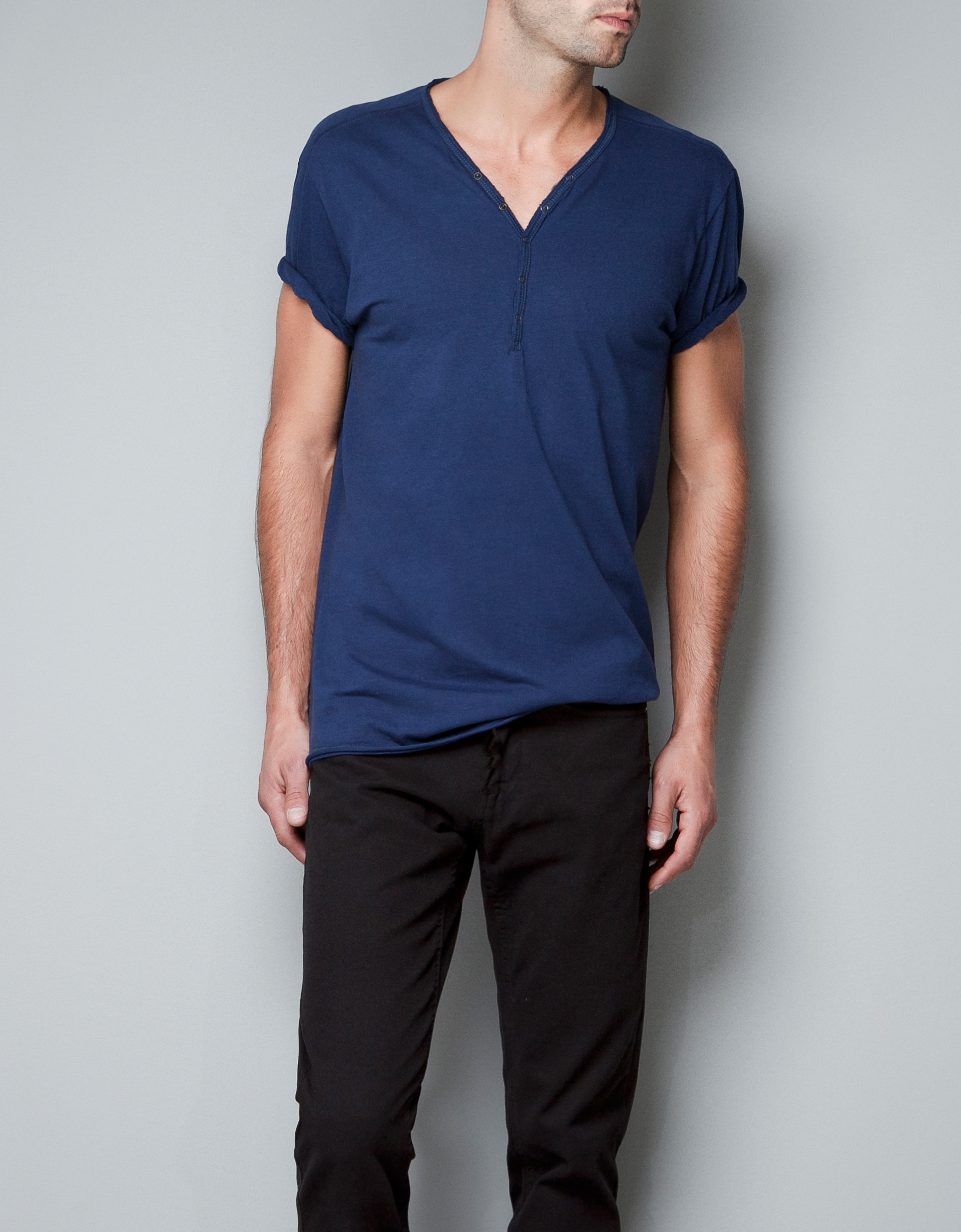Zara V Neck T Shirt In Blue For Men Dark Blue Lyst