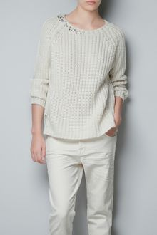 Zara Sweater with Shoulder Diamante - Lyst