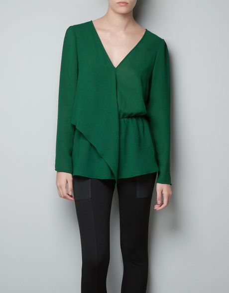 Zara Forest Green Blouse 46