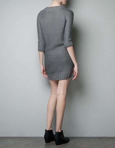 Zara Cable Knit Dress in Gray (grey) | Lyst - photo #13