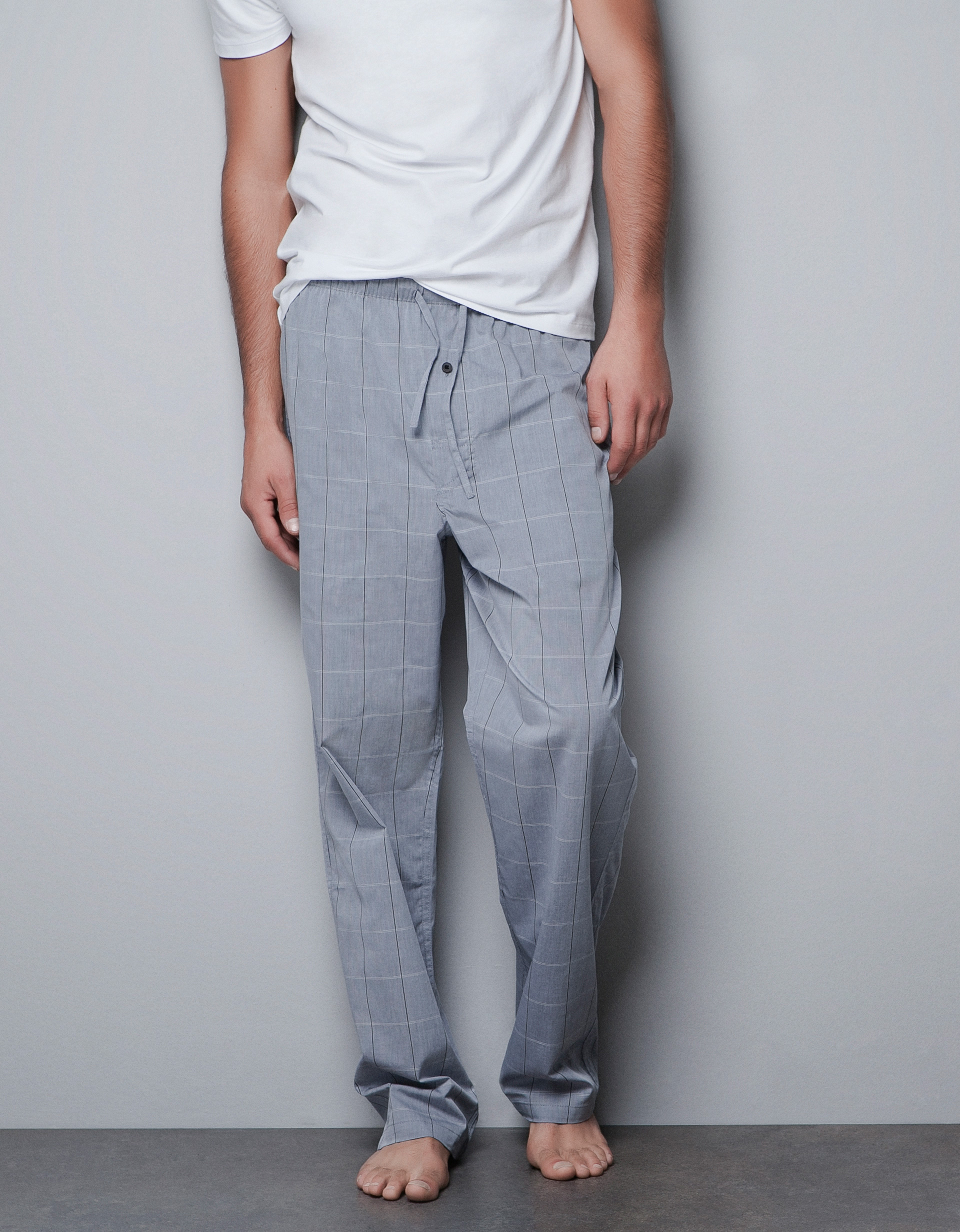 Zara Checked Pajama Pants in Gray for Men | Lyst