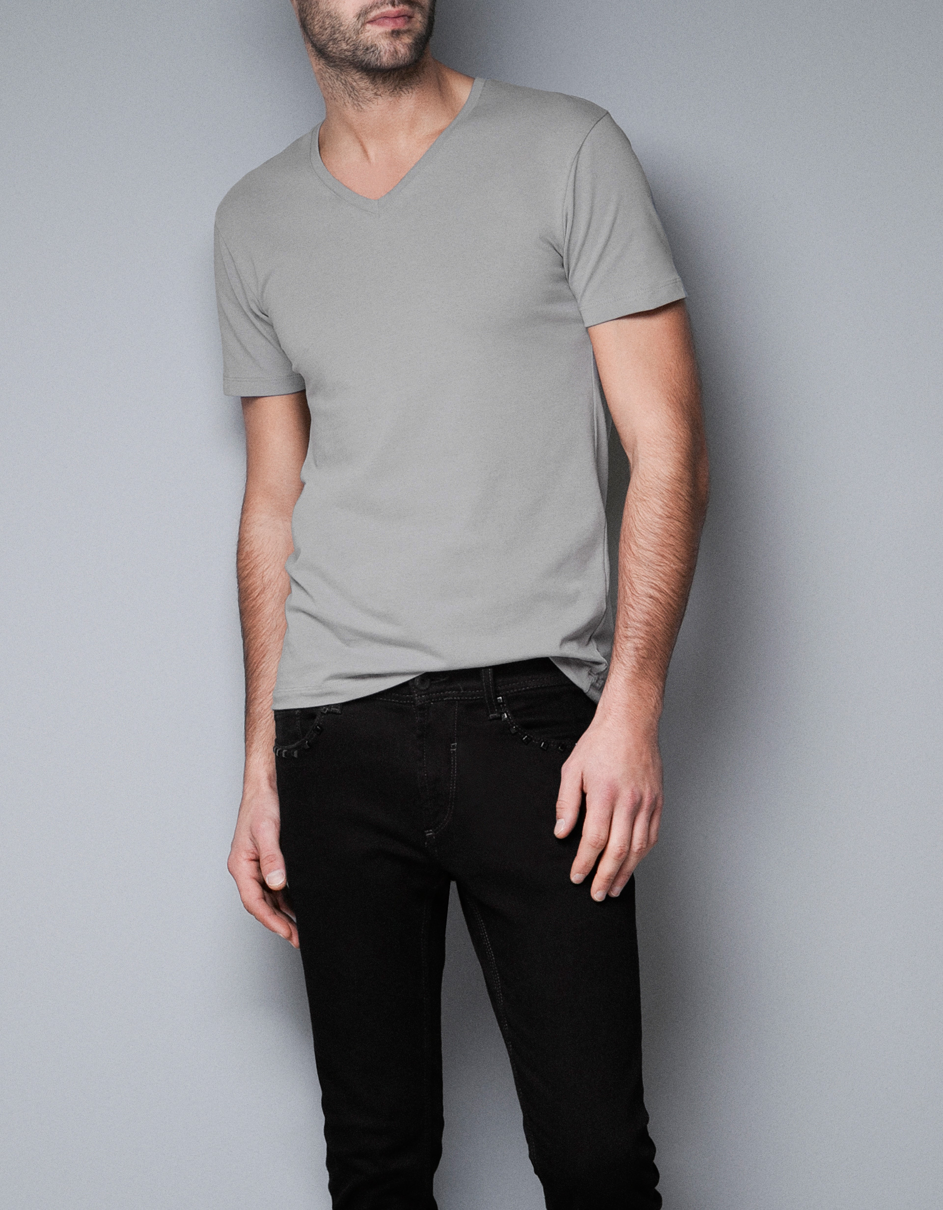 Zara Super Slim Fit T Shirt In Gray For Men Grey Lyst