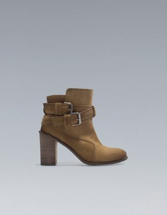 Zara High Heel Ankle Boots with Buckles - Lyst