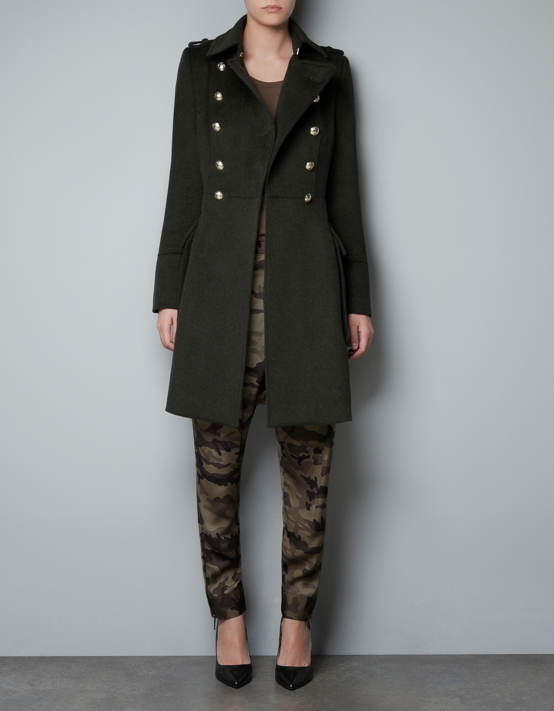 Zara Woollen Military Coat In Black Khaki Lyst