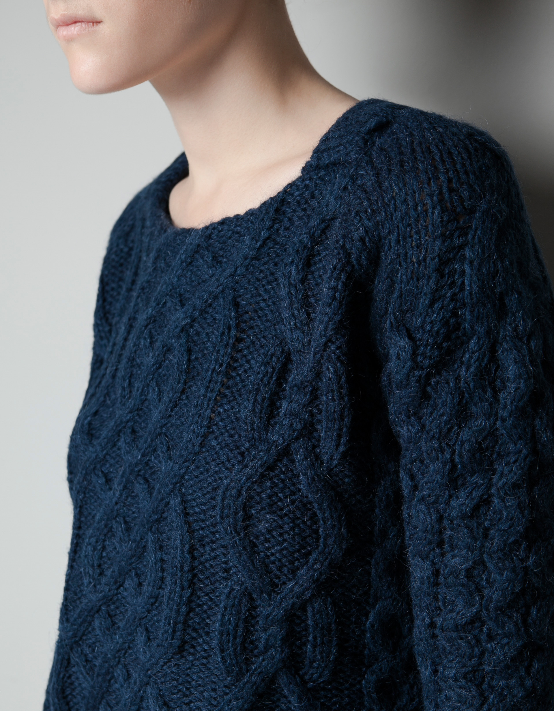 Collection Blue Cable Knit Sweater Pictures - Asianfashion