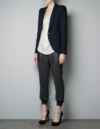 Zara Single Button Blazer with Shoulder Detail - Lyst