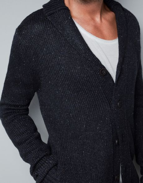 Zara Tuxedo Collar Knit Cardigan in Blue for Men (navy) | Lyst