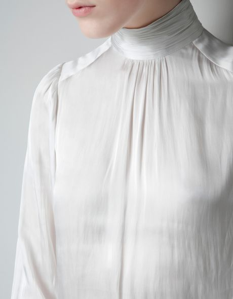 White Blouse High Collar 64