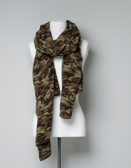 zara camouflage scarf in green only one lyst