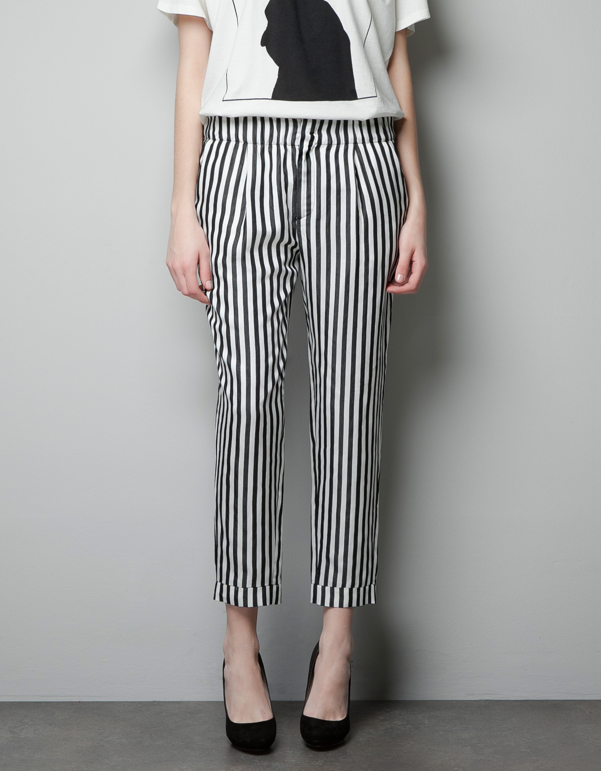 Zara Pleated Striped Trousers In White Lyst