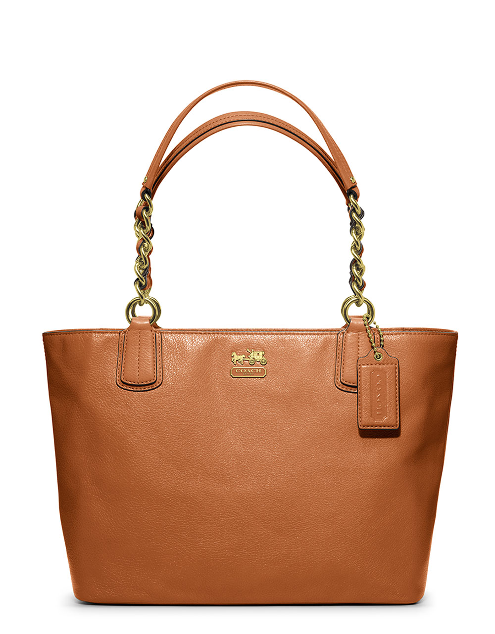 coach leather tote in brown brass cognac lyst. Black Bedroom Furniture Sets. Home Design Ideas