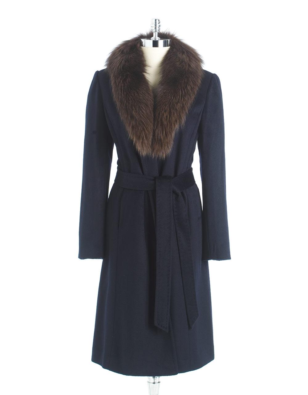 Lyst Ellen Tracy Fur Collar Belted Coat In Blue