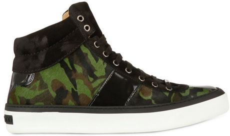 Jimmy Choo Camouflage Pony Skin High Top Sneakers in Green for Men
