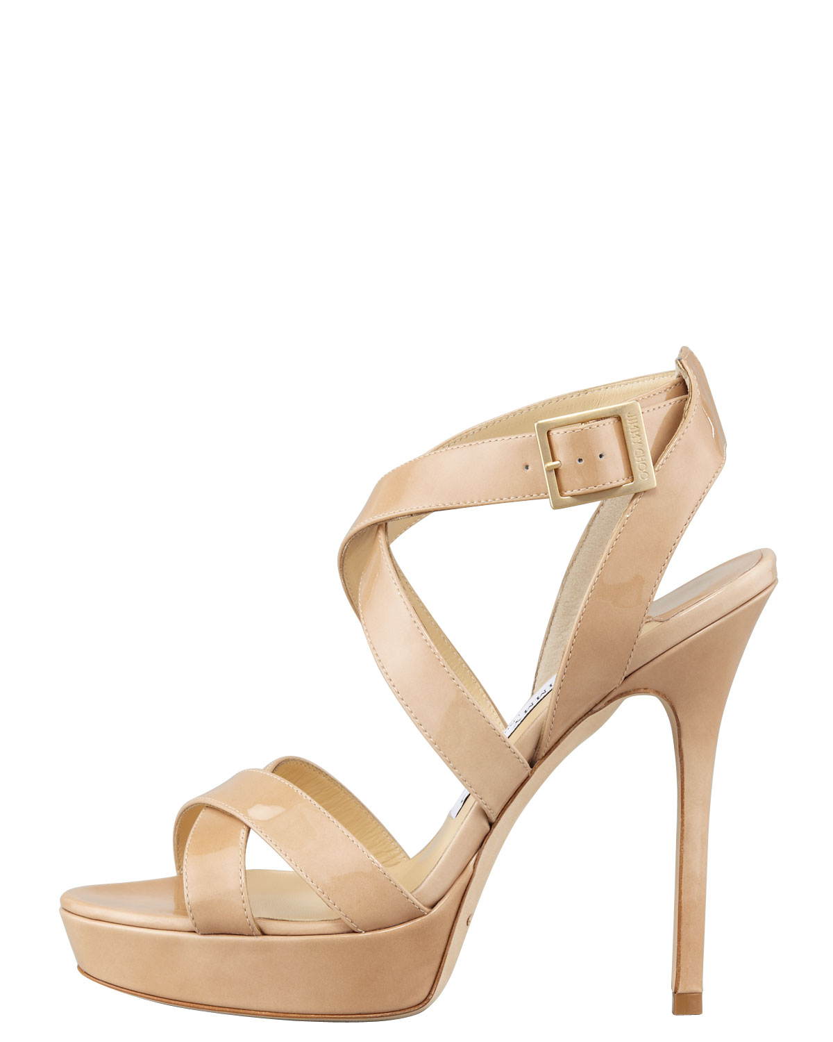 Lyst - Jimmy choo Vamp Crisscross Platform Sandal Nude in Natural