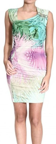 Just Cavalli Sleeveless Jersey Dress with Brooch and Eden Print - Lyst