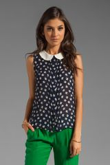 Milly Silk Clover Print Anat Sleeveless Blouse - Lyst