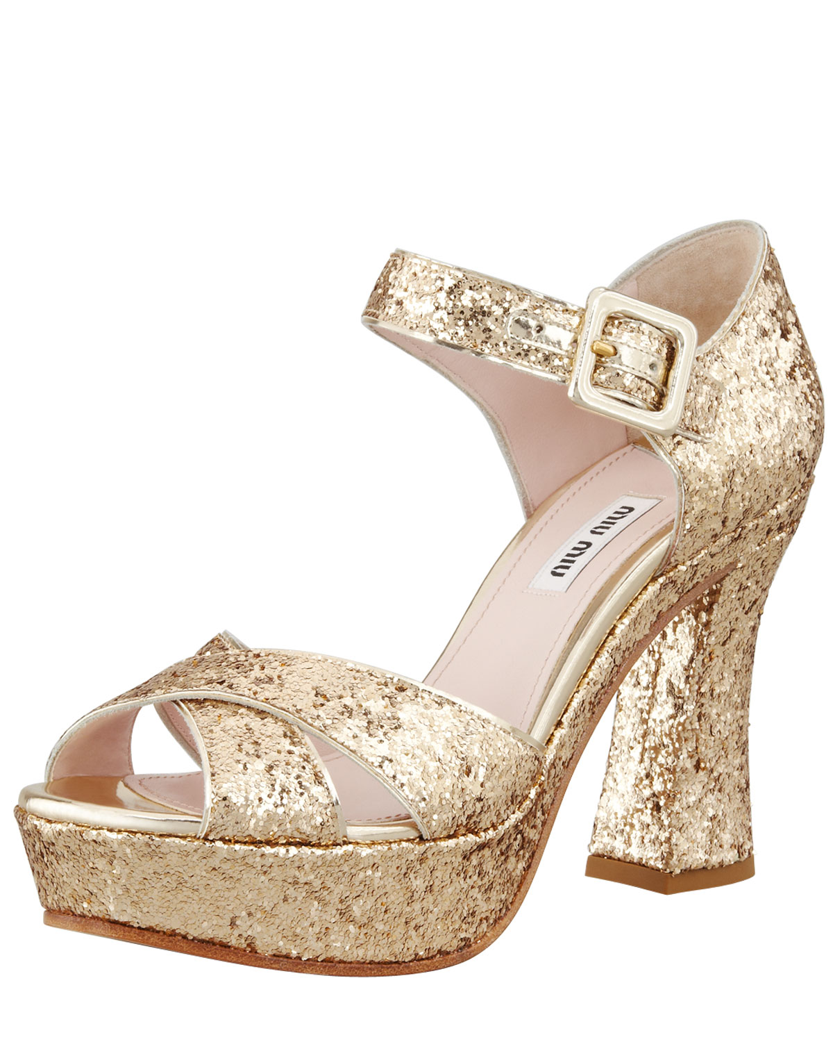 12037259358f Lyst - Miu Miu Glitter Crisscross Mary Jane Sandal in Metallic