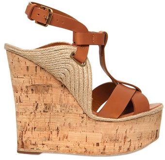 Ralph Lauren 140mm Calf and Cork Platform Wedges - Lyst