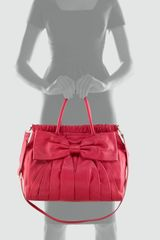 Red Valentino Calfskin Bow Satchel Bag in Red (cherry) - Lyst
