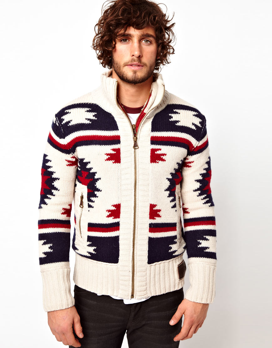 Superdry Navajo Knit Zip Cardigan in White for Men | Lyst