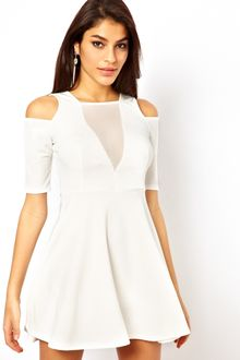 Tfnc Skater Dress with Mesh Insert - Lyst