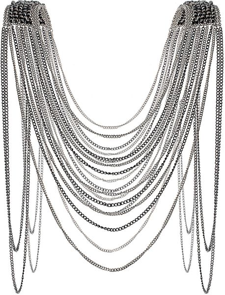 Topshop Bead Shoulder Drape Necklace in Silver (multi)