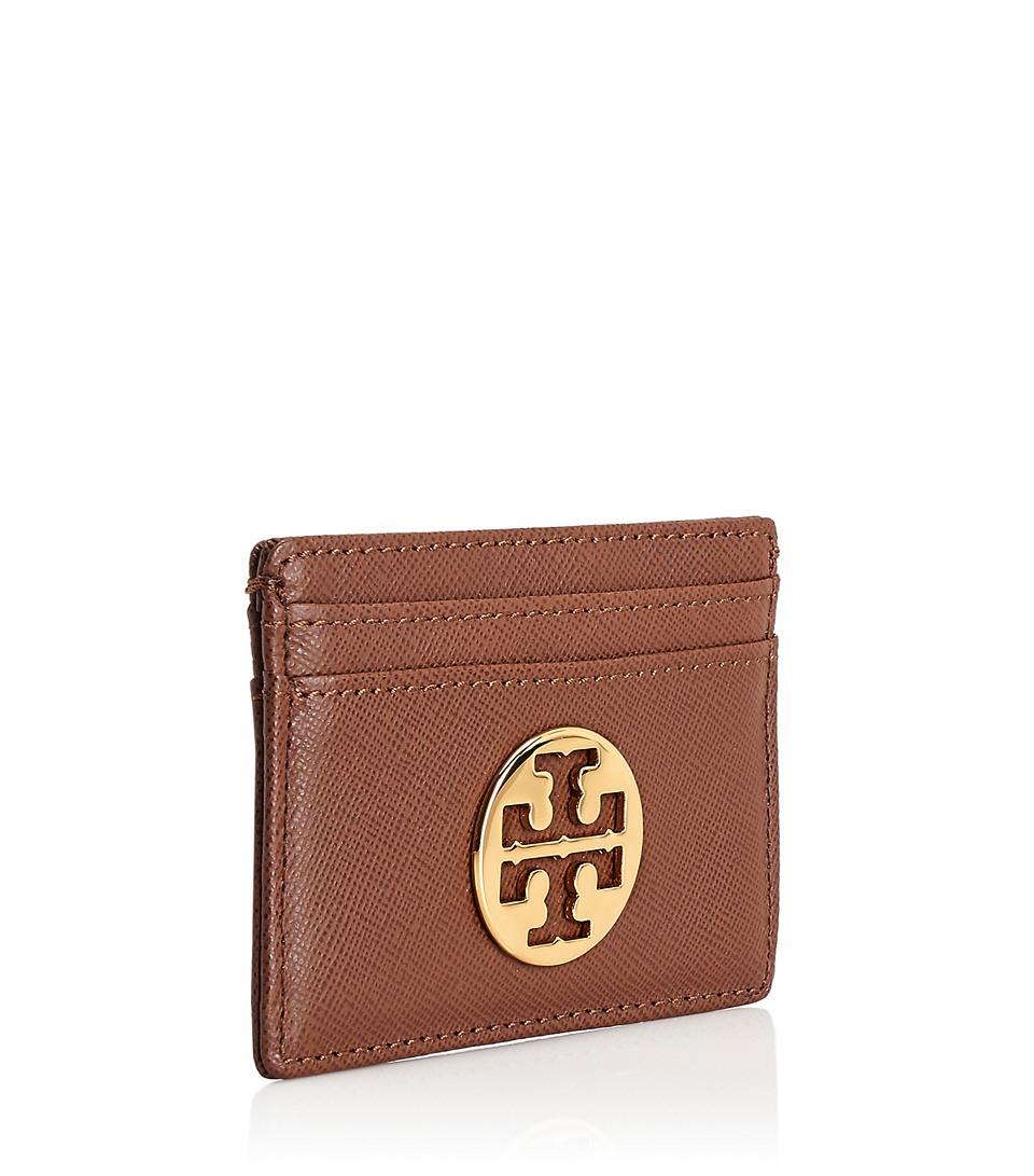 Lyst - Tory Burch Robinson Slim Card Case in Brown