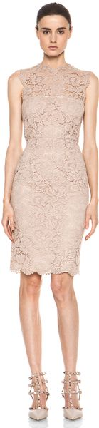 Valentino Tonal Lace Dress in Nude - Lyst
