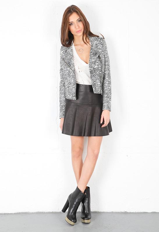 vince leather drop yoke flare skirt in black lyst
