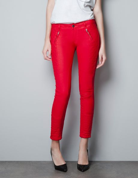 Zara Red Coated Biker Pants In Red Lyst
