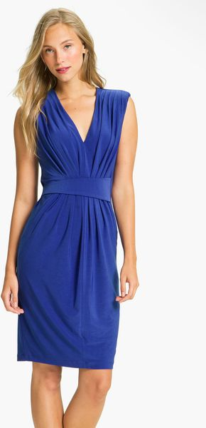 Alex & Ava Pleated Jersey Sheath Dress - Lyst