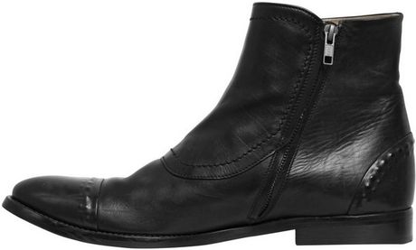 Alexander Mcqueen 20mm Triple Buckle Brushed Leather Boots