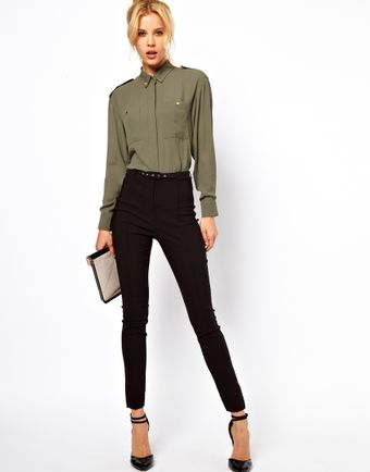 ASOS Collection  High Waist Belted Trousers in Skinny Fit - Lyst