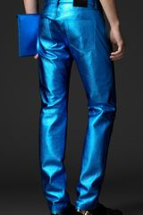 Burberry Prorsum Metallic Leather Jeans in Blue for Men (metallic blue) - Lyst