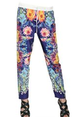 Clover Canyon Flowers Print Crepe De Chine Trousers - Lyst