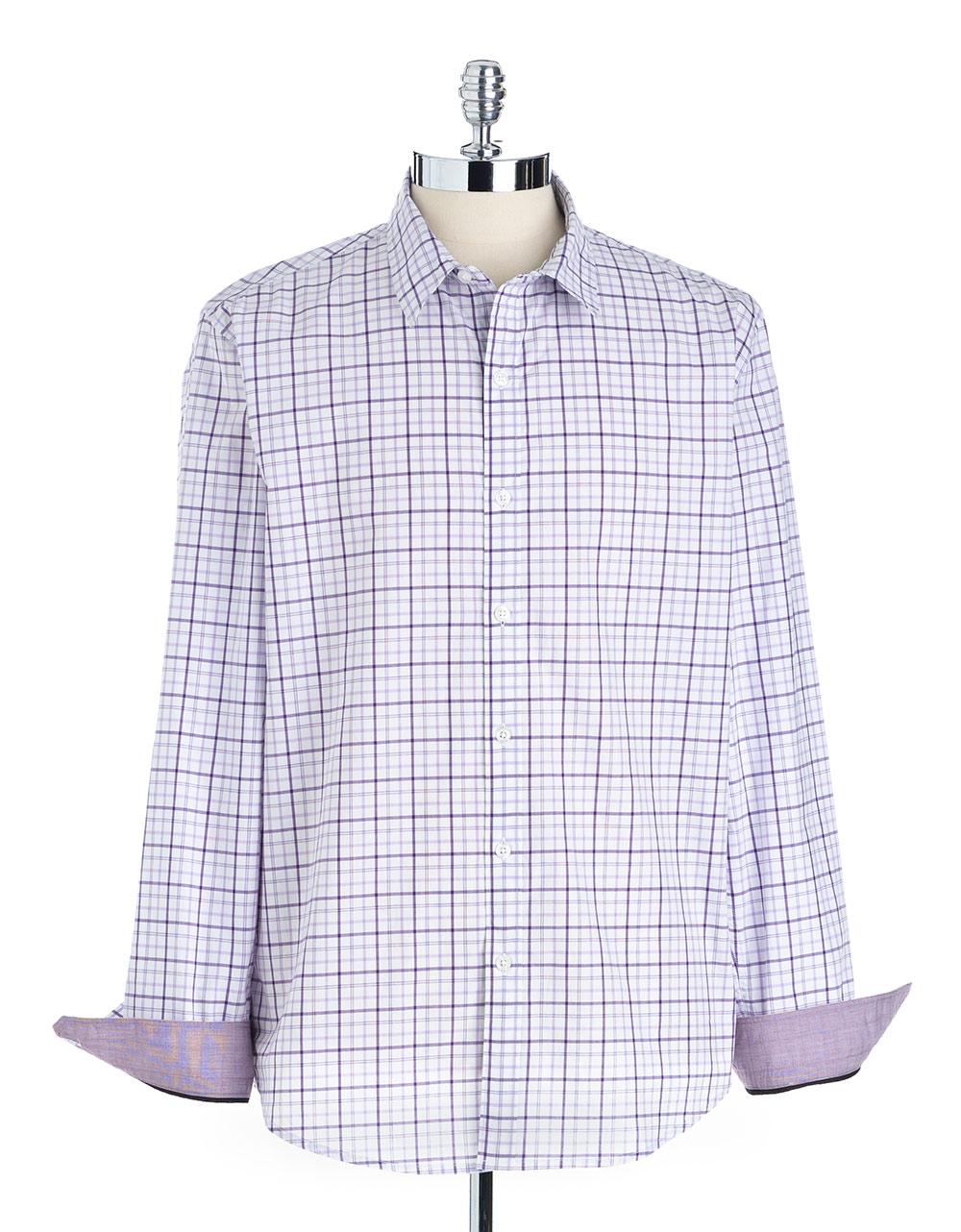 Dkny Plaid Buttondown Shirt In Purple For Men Lyst