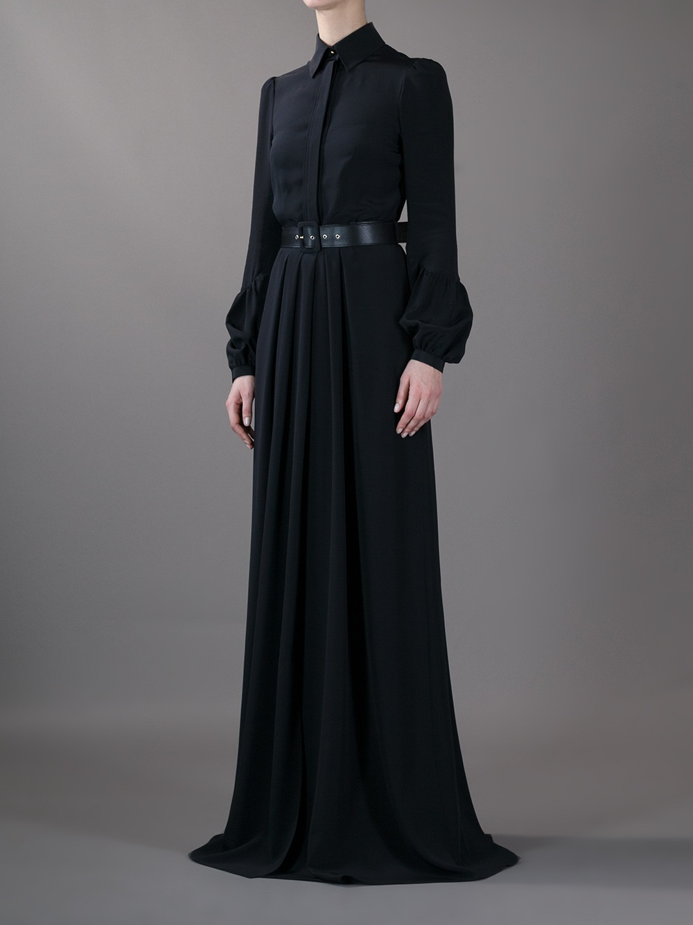 Givenchy Long Belted Shirt Dress In Black Lyst