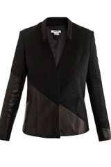 Helmut Lang Asymmetrical Leather Panel Blazer - Lyst