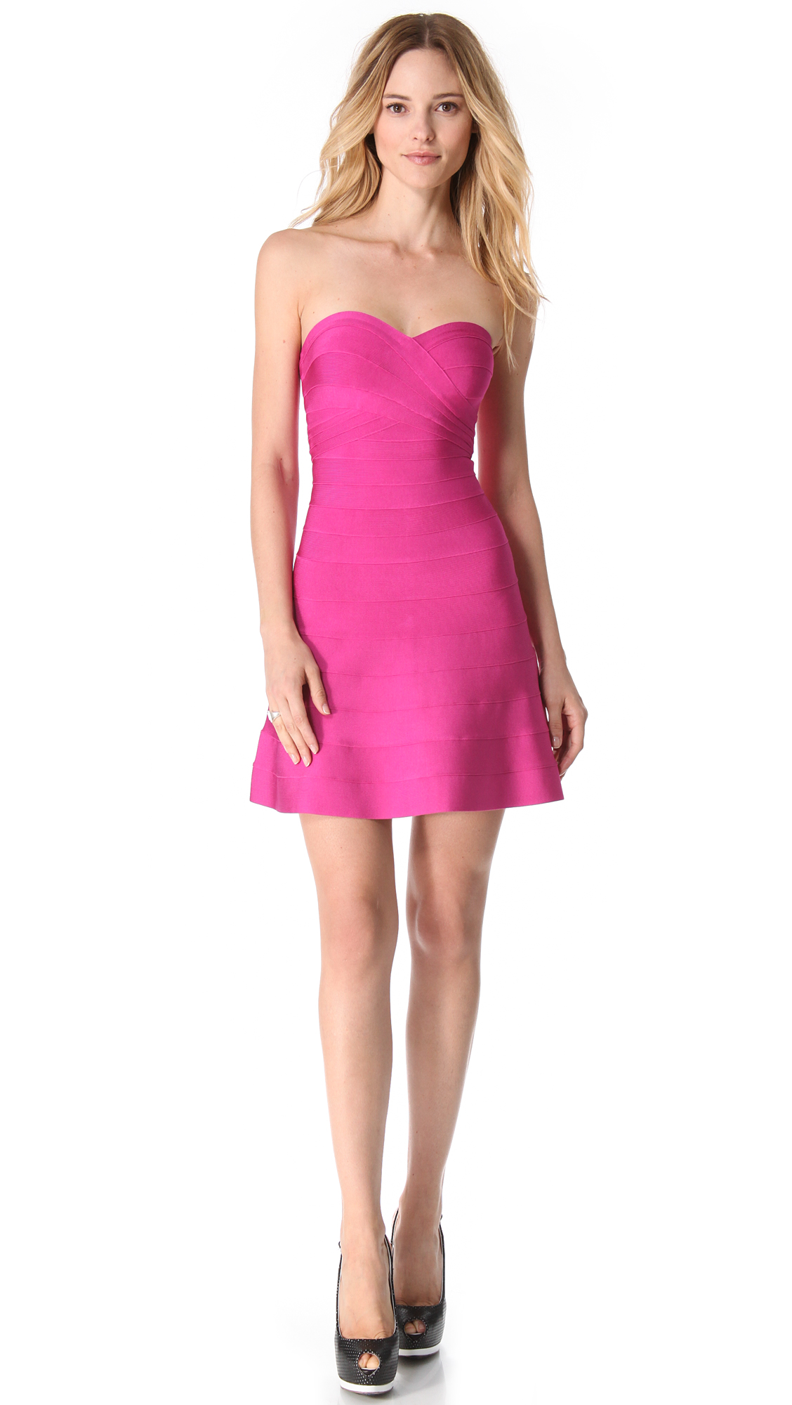 Lyst Herv 233 L 233 Ger Strapless Mid Thigh Dress In Pink
