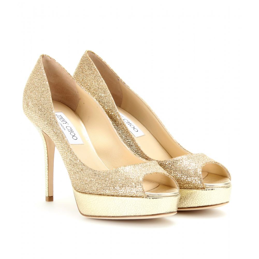 Gold Sparkle Peep Toe Heels - Is Heel