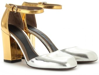 Marni Metallic Leather Maryjanes - Lyst