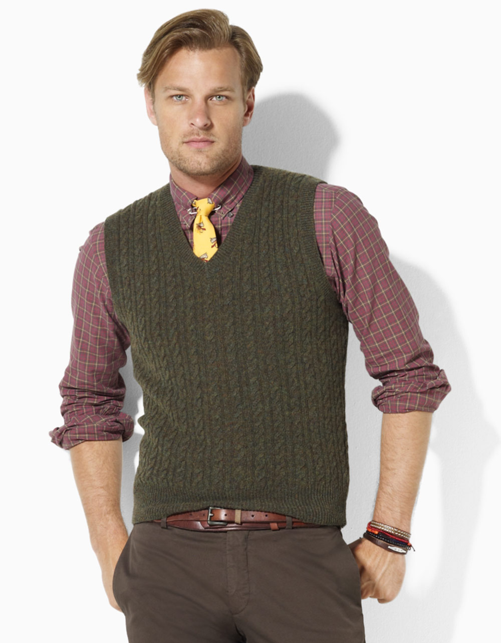 Polo ralph lauren Merino Wool Cable Knit V-neck Sweater Vest in ...