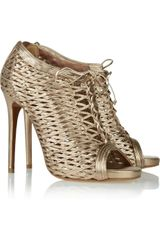 Tabitha Simmons Faiza Metallic Woven Leather Ankle Boots - Lyst
