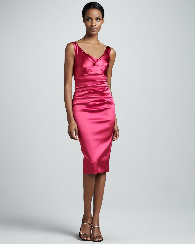 Talbot runhof Ruched Satin Cocktail Dress in Pink  Lyst