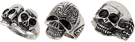 Topshop Mix Skull Ring Pack in Silver